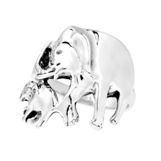 Majestic Mother and Baby Duo Elephant .925 Silver Ring (Thailand)