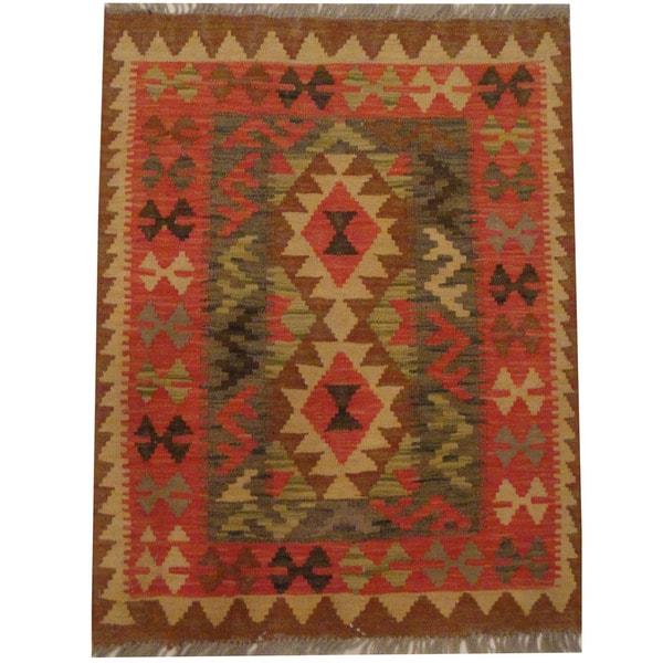Herat Oriental Afghan Hand-woven Tribal Wool Kilim (2'6 x 3'3)
