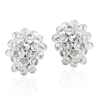 Disco Bling Sparkly Crystal Cluster Clip On Earrings (Thailand)