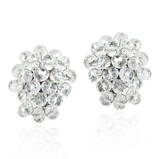 Handmade Disco Bling Sparkly Crystal Cluster Clip On Earrings (Thailand)