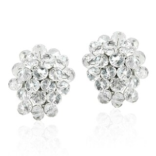 Handmade Disco Bling Sparkly Crystal Cluster Clip On Earrings (Thailand) (Option: Clear)
