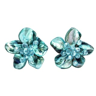 Peacock Blue Mother of Pearl Floral Clip On Earrings (Thailand)