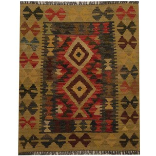 Herat Oriental Afghan Hand-woven Tribal Wool Kilim (2'1 x 2'6)