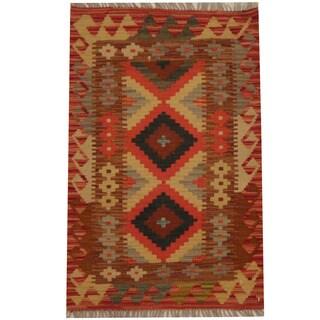 Herat Oriental Afghan Hand-woven Tribal Kilim (2' x 3'2)