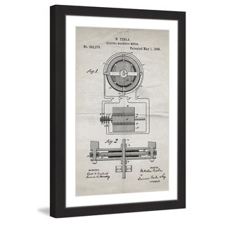 Marmont Hill - 'Tesla Motor 1888 Old Paper' by Steve King Framed Painting Print