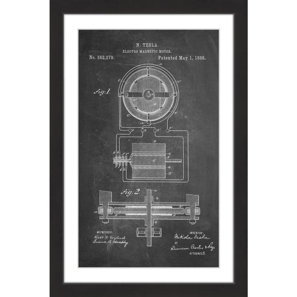 Marmont Hill - 'Tesla Motor 1888 Chalk' by Steve King Framed Painting Print