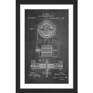 Marmont Hill - 'Tesla Motor 1888 Chalk' by Steve King Framed Painting Print