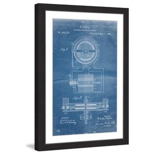 Marmont Hill - 'Tesla Motor 1888 Blueprint' by Steve King Framed Painting Print