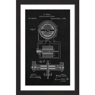 Marmont Hill - 'Tesla Motor 1888 Black Paper' by Steve King Framed Painting Print
