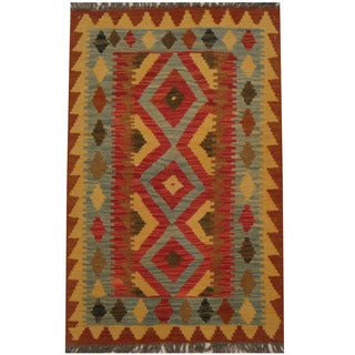 Herat Oriental Afghan Hand-woven Tribal Wool Kilim (2'1 x 3'2)