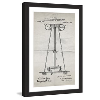 Marmont Hill - 'Tesla Coil 1914 Old Paper' by Steve King Framed Painting Print