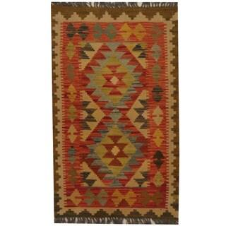Herat Oriental Afghan Hand-woven Tribal Kilim (1'11 x 3'1)