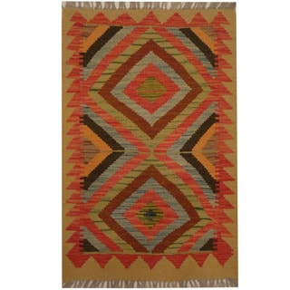 Herat Oriental Afghan Hand-woven Tribal Kilim (2' x 3')