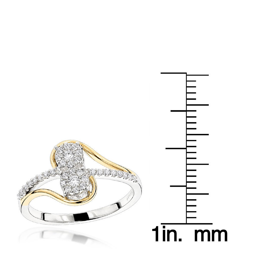 1b07b51af1 Shop Luxurman Love & Friendship Rings: 14K Gold 2 Cluster Diamond Ladies  Ring 0.25ct - On Sale - Free Shipping Today - Overstock - 12776326