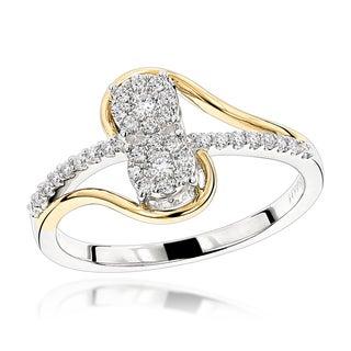 Luxurman Love & Friendship Rings: 14K Gold 2 Cluster Diamond Ladies Ring 0.25ct (H-I; SI1-SI2)
