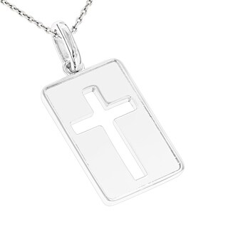 Luxurman Men's 18k Solid Gold Dog Tag Cross Pendant