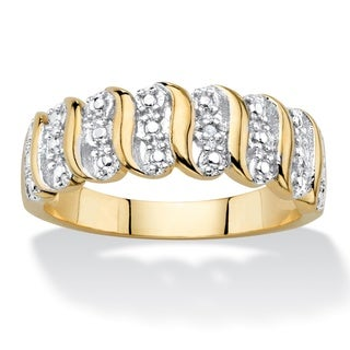 Diamond Accent S-Link Ring 18k Yellow Gold-Plated - White