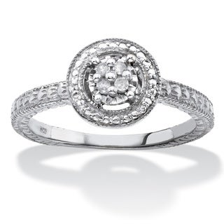 Round Diamond Accent Halo-Style Diamond-Cut Ring in Sterling Silver