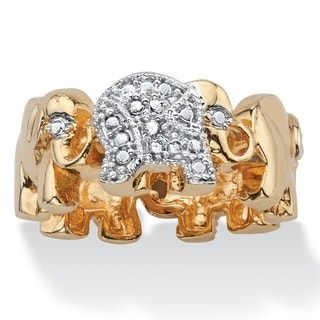 Diamond Accent Two-Tone Pave-Style Elephant Parade Ring 18k Gold-Plated - White