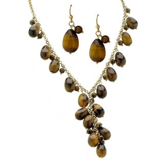 Genuine Tiger's Eye Beaded Y Necklace and Earrings 2-Piece Set in Yellow Gold Tone Natural