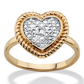 PalmBeach Diamond Accent Two-Tone Heart Ring 18k Gold-Plated