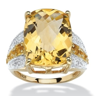 PalmBeach 9.96 TCW Checkerboard-Cut Citrine and White Topaz Ring in 14k Gold over .925 Sterling Silver