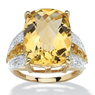 9.96 TCW Checkerboard-Cut Citrine and White Topaz Ring in 14k Gold over .925 Sterling Silv
