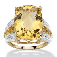 Yellow Gold over Sterling Silver Genuine Citrine Ring