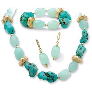 PalmBeach Lab-Created Green Chalcedony, Viennese Turquoise and Lucite Necklace, Bracelet and Earrings Set Naturalist