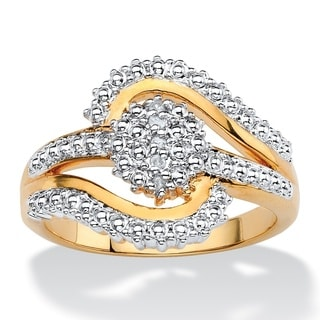 Round White Diamond Accent Pave-Style Two-Tone Cluster Swirl Ring Gold-Plated