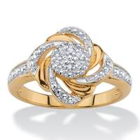 White Pave-Style Diamond Accent Two-Tone Beaded Love Knot Swirled Cluster Ring 18k Gold-Pl