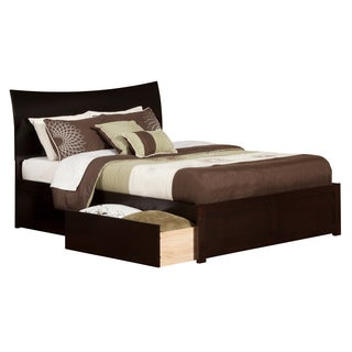 Soho Espresso Wood King-size Flat-panel Storage Bed