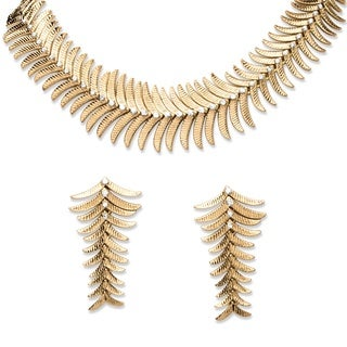 2 Piece Fern Necklace and Earrings Set in Yellow Gold Tone Bold Fashion