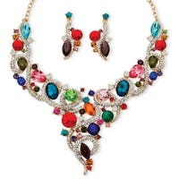Goldtone Overlay Multicolor Crystal Bib Necklace and Earrings Jewelry Set