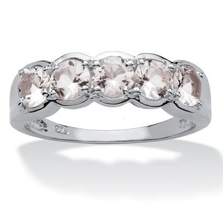 Round Morganite Accent Ring in Platinum over Sterling Silver