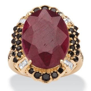 15.97 TCW Genuine Oval-Cut Ruby and Black Spinel Cocktail Ring in 14k Gold over Sterling S