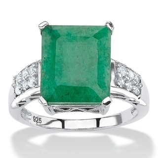 5.27 TCW Emerald-Cut Genuine Emerald and White Topaz Ring Rhodium-Plated Sterling Silver