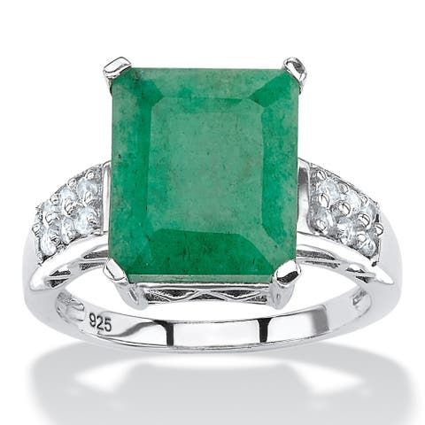 Sterling Silver Genuine Green Emerald and Round Genuine Topaz Ring