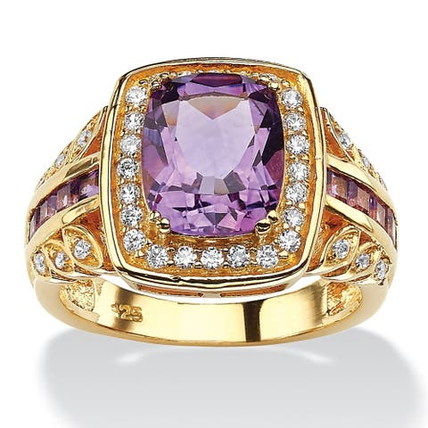 14K Yellow Gold over Sterling Silver Genuine Amethyst and CZ Ring