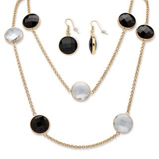 Round Checkerboard-Cut Black and White Crystal Station Necklace and Earrings Set in Gold T