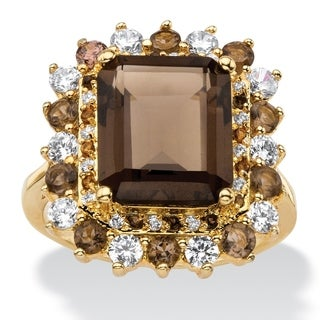PalmBeach 9.62 TCW Emerald-Cut Genuine Smoky Topaz and CZ Accent Halo Cocktail Ring 14k Gold-Plated