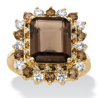 9.62 TCW Emerald-Cut Genuine Smoky Topaz and CZ Accent Halo Cocktail Ring 14k Gold-Plated