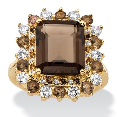 Yellow Gold-Plated Genuine Topaz and Cubic Zirconia Ring