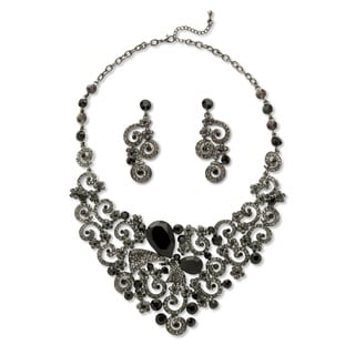 PalmBeach Gold Overlay Black and Grey Lucite and Crystal Scroll Necklace and Earrings Set