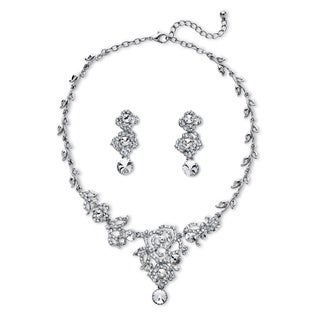 PalmBeach Goldtone Overlay Round Crystal Flower and Leaf Designer-inspired Necklace and Earrings Set