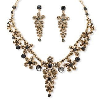 Round Grey Flower Crystal Necklace and Earrings Set in Gold Tone Bold Fashion