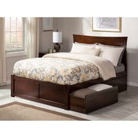 Metro Queen Platform Platform Bed with Flat Panel Foot Board and 2 Urban Bed Drawers in Walnut
