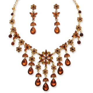 PalmBeach Goldtone Overlay Pear-cut Butterscotch and Champagne Crystal Necklace and Earrings Set