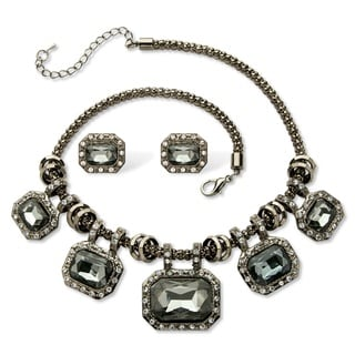 PalmBeach Emerald-cut Grey Crystal Black Ruthenium-plated Halo Station Necklace