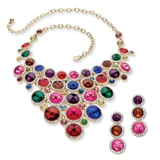 PalmBeach Goldtone Overlay Round Multicolor Lucite and Crystal Necklace and Earrings Set